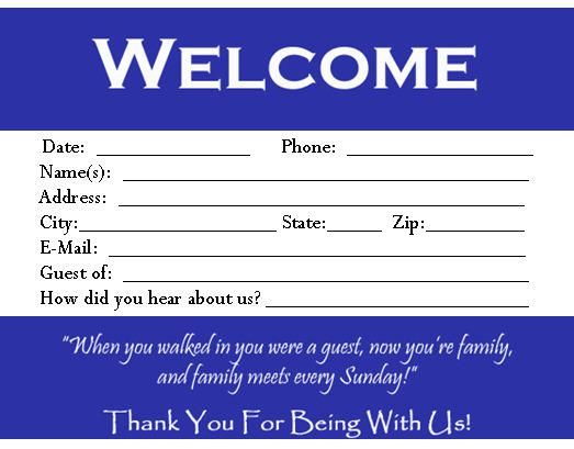 Download this visitor card (click the link below) Church Visitor Card Template this is a Microsoft WORD file You can edit the visitor card to meet your church needs! If you choose to down load this please sign our guest book and our mailing list as a courtesy. We want to know if you are blessed by this and would like to send you updates when God gives us new ideas! Thank you and God Bless!