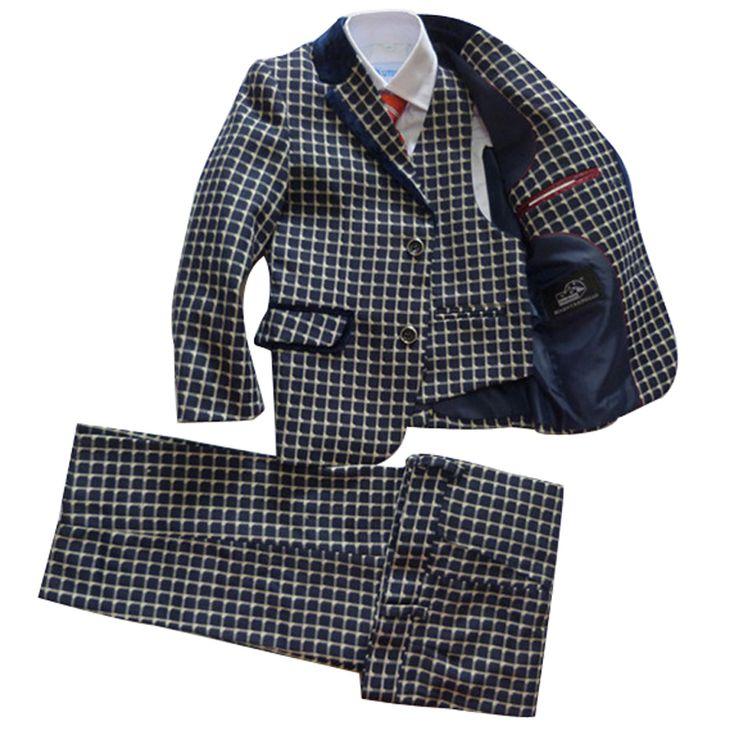 Мальчиков, костюмы blazer 3 шт. комплектов Одежды Детская одежда терно infantil Дети желтый плед куртка для Свадьбы Подарок На День Рождения