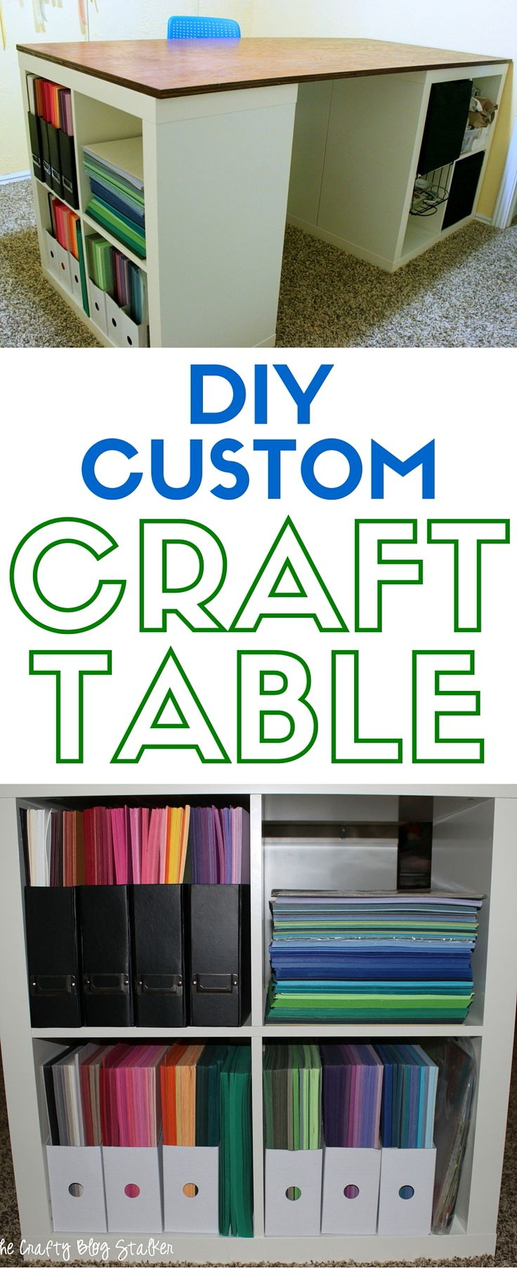 How to make a custom craft table using Ikea Kallax shelves and a tabletop. This is a DIY table that you can make for your craft room.