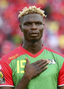 Aristide Bance of Burkina Faso during the 2015 Africa Cup of Nations football match between Equatorial Guinea and Burkina Faso at the Bata Stadium in Bata, Equatorial Guinea on 21 January 2015 ©Barry Aldworth/BackpagePix