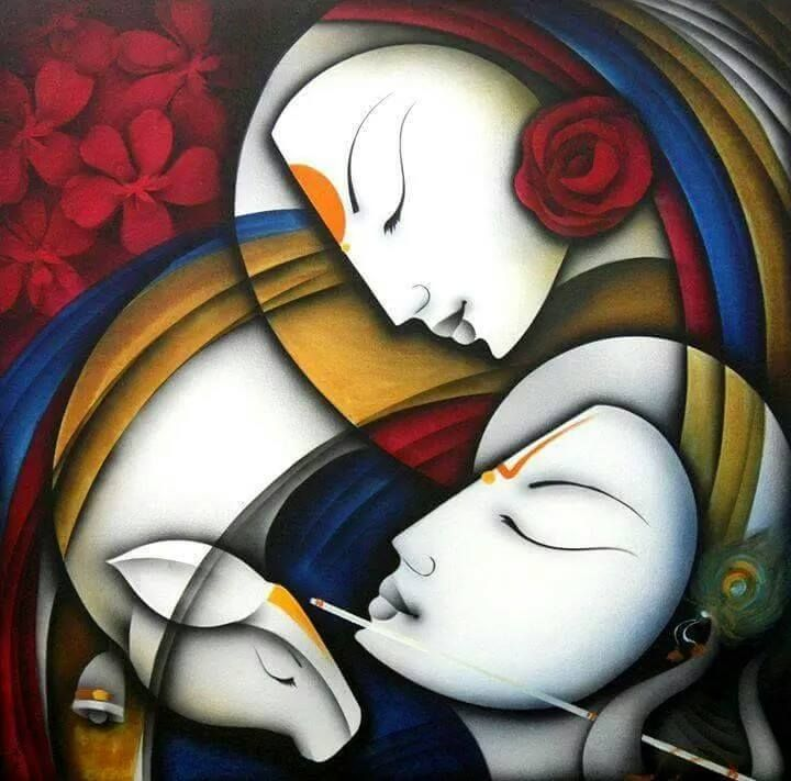 radha krishna paintings on canvas