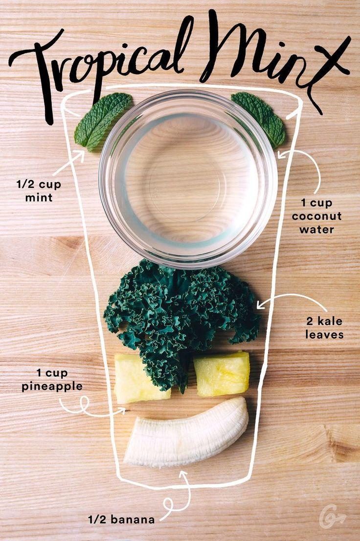 Kale+plátano+piña+menta+agua coco