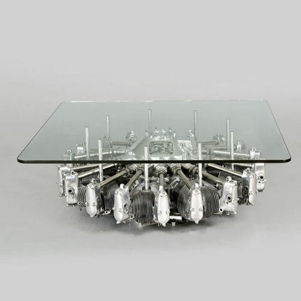Old plane engine used as coffee table base #furniture