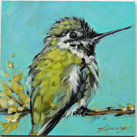 Hummingbird painting 4x4 inch original by LaveryART on Etsy