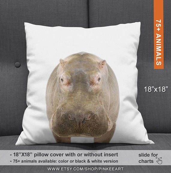 Hippo Pillow Hippo Baby Items Hippo Pillowcase Hippo Baby Decor Safari Nursery Pillows Throw Pillows A Safari Nursery Pillow Animal Pillows Animal Nursery
