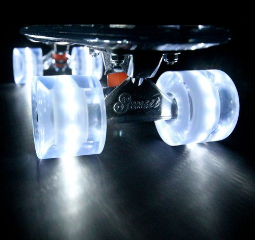 Sunset #Skateboard - Clear Deck with White Flare LED Wheels, great for cruisin down the boardwalk or around the city, day or night