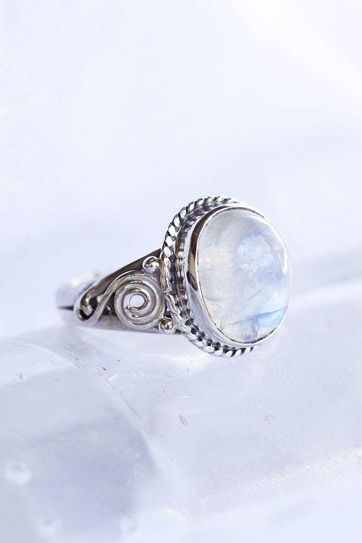 moonstone + sterling silver ring + spirals