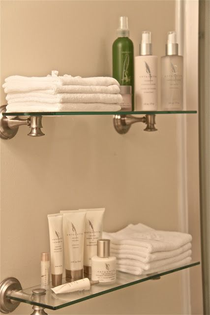 Best 25 bathroom shelves ideas on pinterest half bath - Bathroom accessories glass shelf ...