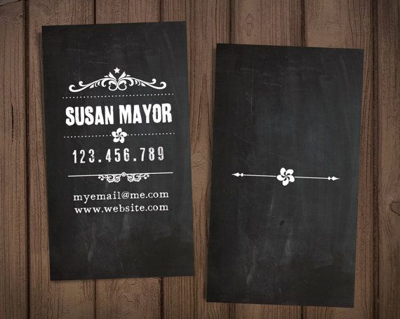"Chalkboard custome business card / Retro business card / Premade personal card / ""Retro graphics"""