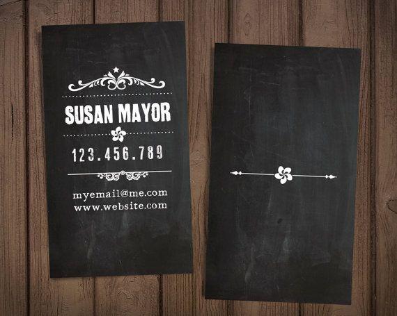 "Chalkboard custome business card / Retro business card / Premade personal card / ""Retro graphics"""