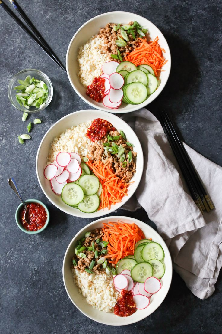 #Ad Bulgogi Chicken Bowls with Coconut Cauliflower Rice. These simple, flavor-packed bowls are as delicious as they are nutritious, and the recipe comes together in just 30 minutes! Repin for a chance to see a similar meal in your freezer aisle and try @SmartOnes SmartMade meals that are made with real ingredients and incorporate smart swaps like cauliflower rice that I make in my own kitchen. @AOLLifestyle.