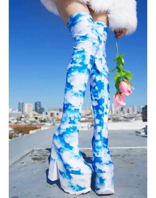 Y.R.U. X Dolls Kill Dreamer Thigh High Boots | Dolls Kill