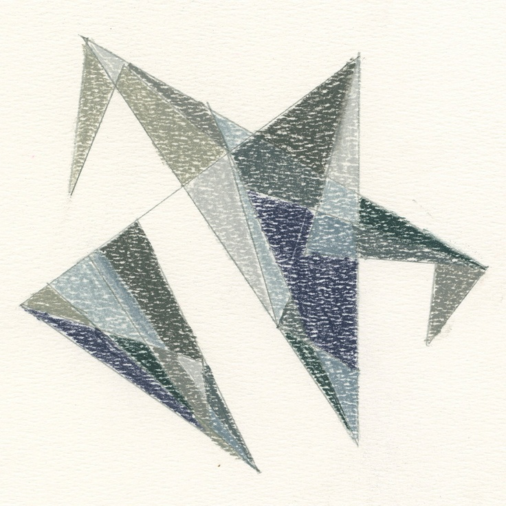 Geometric Art Drawing in Charcoal Color Pencils Original The Hawk Grey Blue Steel.