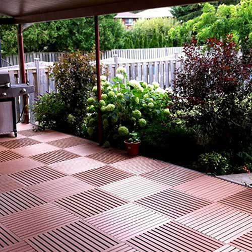 Greatdeck outdoor plastic deck tile the o 39 jays decks for Plastic garden decking