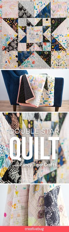 """The Double Star Quilt top features a striking combination of light and dark fabrics, with a star-within-a-star motif radiating from the center. Using a mix of special prints and half-square triangles, Amber from Fancy Tiger Crafts shows you how to use free-form patchwork to grow the quilt from the center out. In the class, Amber shows how to make a 54"""" quilt top, but instructions are included for making a larger 90"""" queen-size quilt top."""