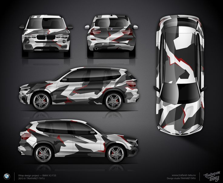Geometric camo wrap design for BMW X3 F25