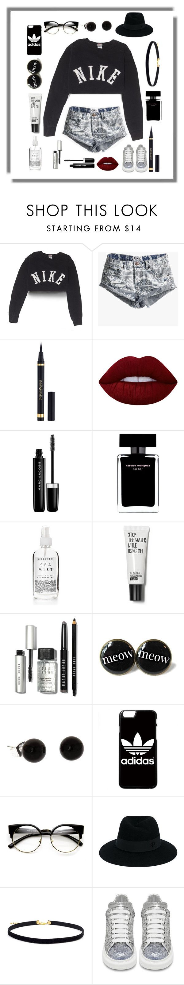"""With the pony you blonde "" by seniora ❤ liked on Polyvore featuring NIKE, One Teaspoon, Yves Saint Laurent, Lime Crime, Marc Jacobs, Narciso Rodriguez, Bobbi Brown Cosmetics, adidas, Maison Michel and Alexander McQueen"