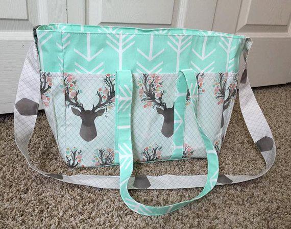 Deer Floral & Mint Arrow Diaper Bag/Baby by SewSweetBabyDesigns