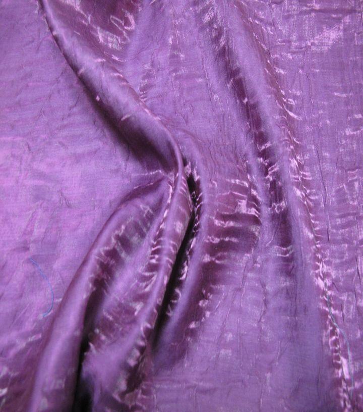 Nicole Miller Crinkle Satin Fabric Tyrian Purple