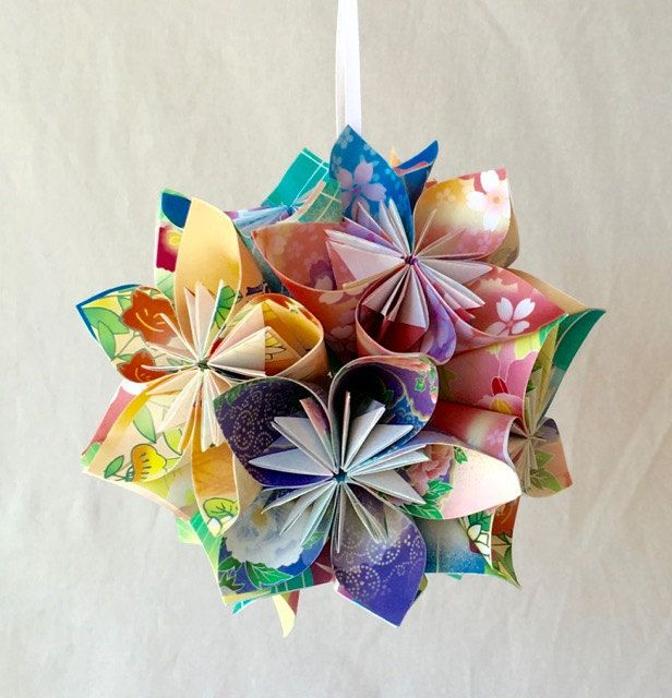 Floral Fantasy Origami Ornament-Christmas Tree Ornament-Christmas Decor- Origami Ball-Origami Ornament-Wedding Decoration-Floral Decor by KatiemadeOrigami on Etsy