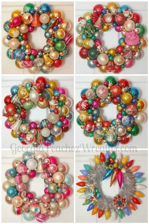 Win a vintage Shiny Brite ornament wreath -- made by Georgia Peachez - Retro Renovation