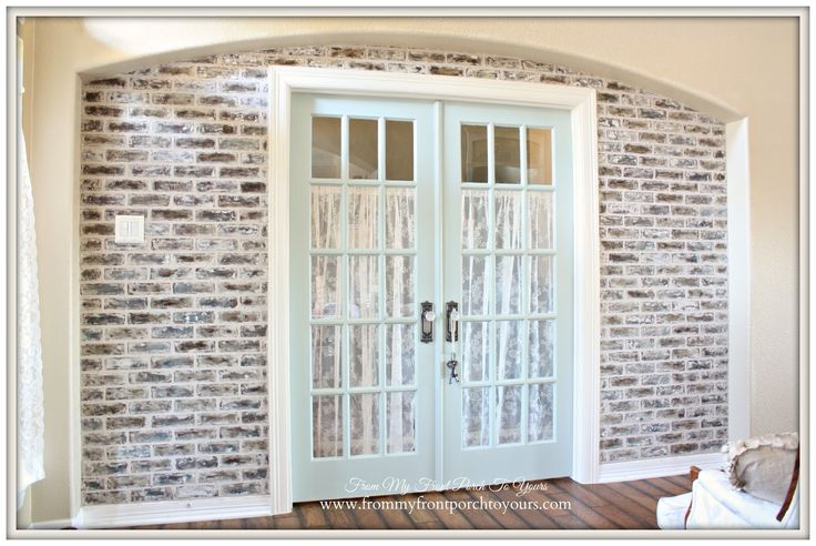 After-French Famrhouse-DIY Faux Brick Wall- From My Front Porch To Yours