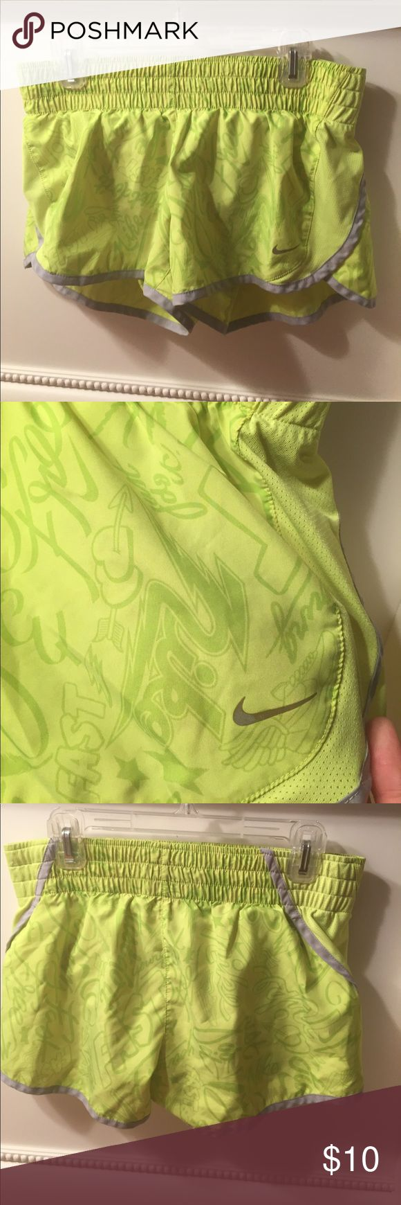 Nwot Nike neon shorts These shorts are neon green with super cute details on it and pockets on the inside. Never worn no flaws bought for 45$ Nike Shorts
