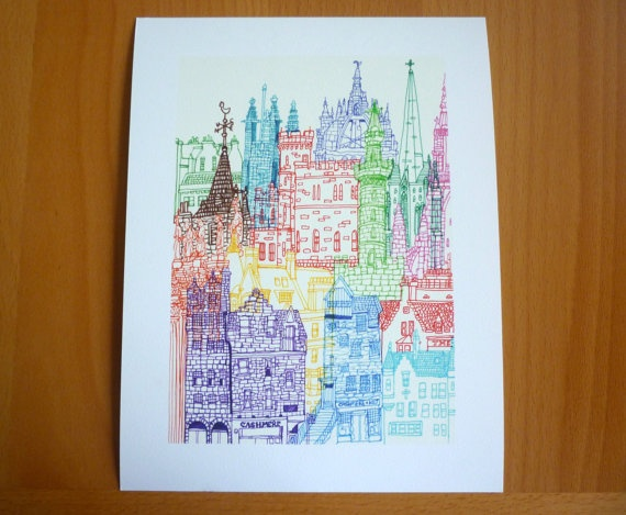Edinburgh Towers Giclee Print by cheism on Etsy, $30.00