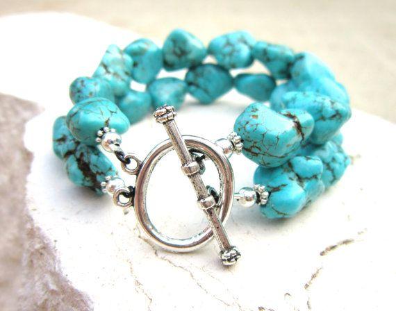 Green Blue Howlite Nugget Bracelet. Chunky Turquoise Bracelet. Double Strand Toggle Bracelet. Turquoise Jewelry. Howlite Jewelry via Etsy