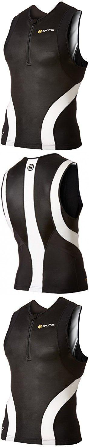SKINS Men's Tri400 Compression Sleeveless Front Zip Top, Black/White, Medium