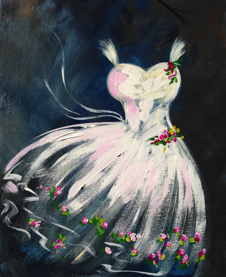 Tutu paint along with the Art Sherpa. Ballet painting on canvas