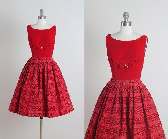Kirschen-Jubiläum.  Jahrgang 1950 s Kleid. von millstreetvintage