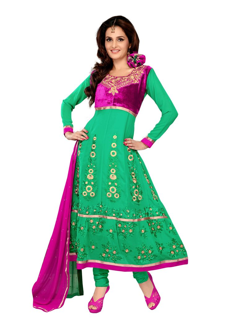Aquamarine Colored Pure #Georgette Yes Semi-Stitched #Salwar Suit Carry the true fashion this season by wearing this alluring piece from fabdeal house! This rich in fabric salwar suit carries pure georgette on its top & santoon inner & bottom with chiffon dupatta. @aimdeals