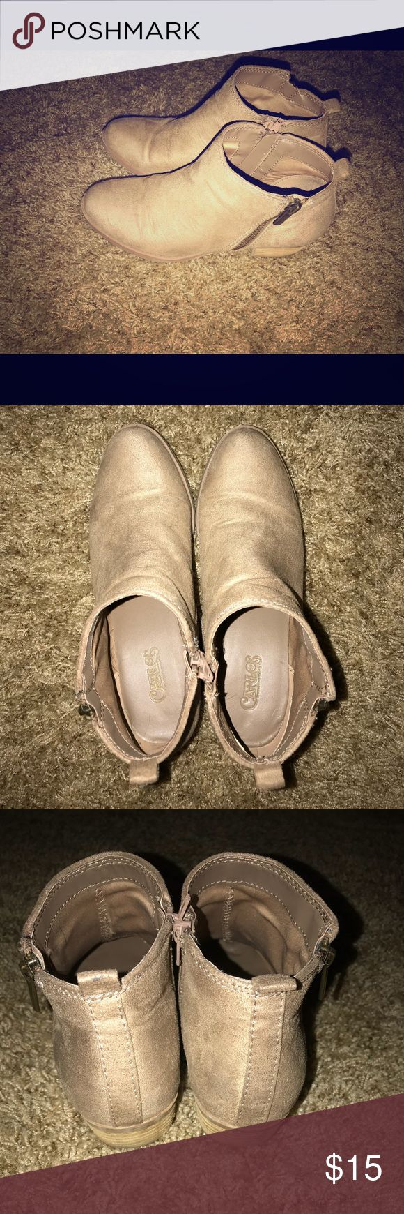 Carlos tan suede booties! Nude/tan suede booties super cute and versatile! Hardly worn and no stains/scuffs! Carlos Shoes Ankle Boots & Booties