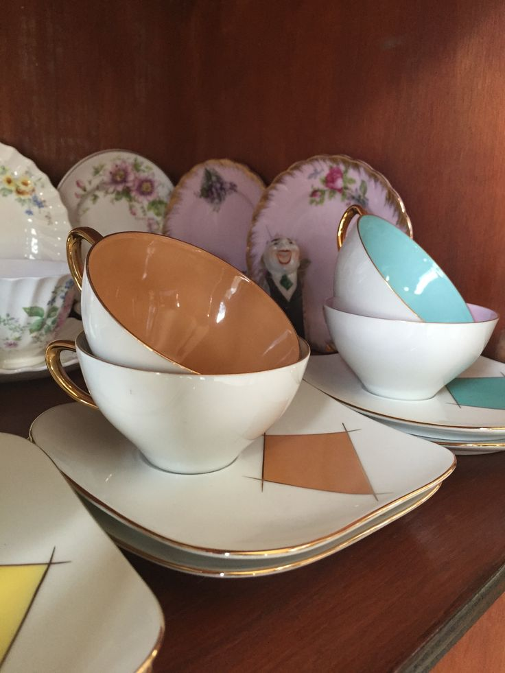 My set of Westminster china cups, saucer and plate set from the 1950s from my mum's collection, now in my china cabinet.