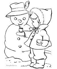 snowman and child coloring page - Snowman Coloring Pages For Kindergarten
