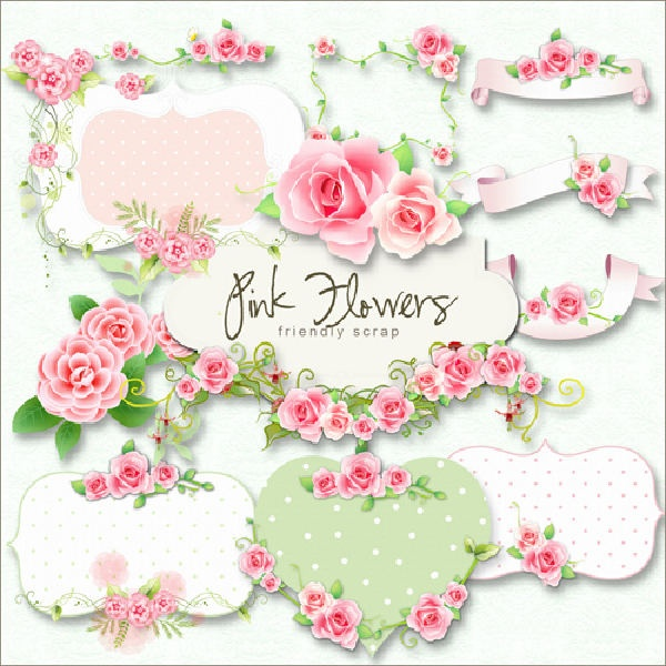 free flowers lables scrap kit pink flower labels png. Black Bedroom Furniture Sets. Home Design Ideas