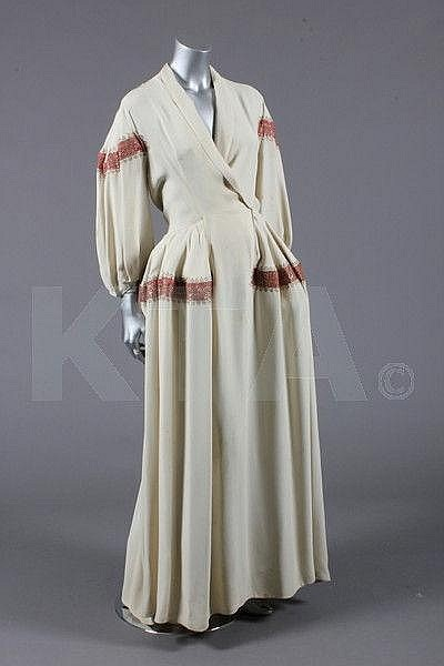 A rare Jeanne Lanvin evening gown with side panniers, 1945, Kerry Taylor Auctions