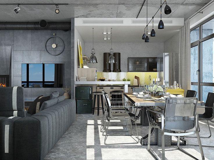 Come arredare una sala da pranzo in stile industriale for Appartamento design industriale
