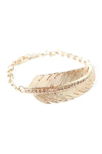Crystal Feather Bracelet