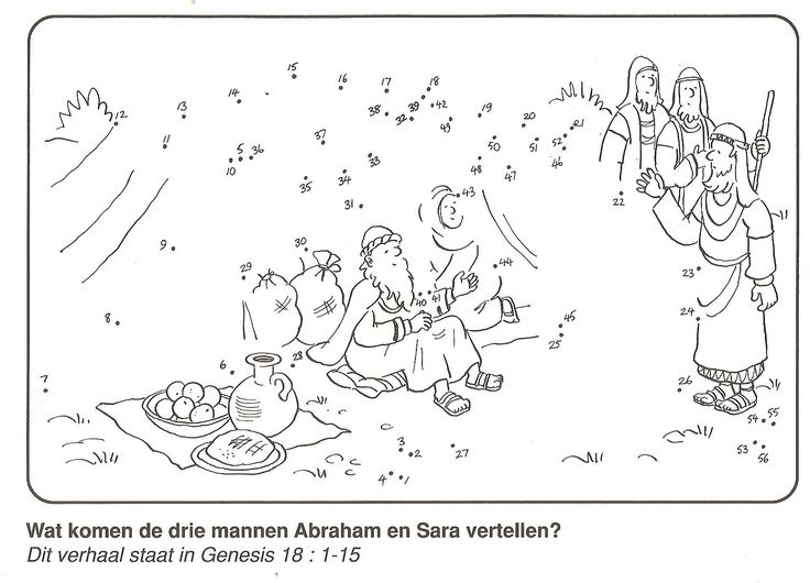 Genesis 18: Wat komen de drie mannen Abraham en Sarah vertellen? van stip naar stip