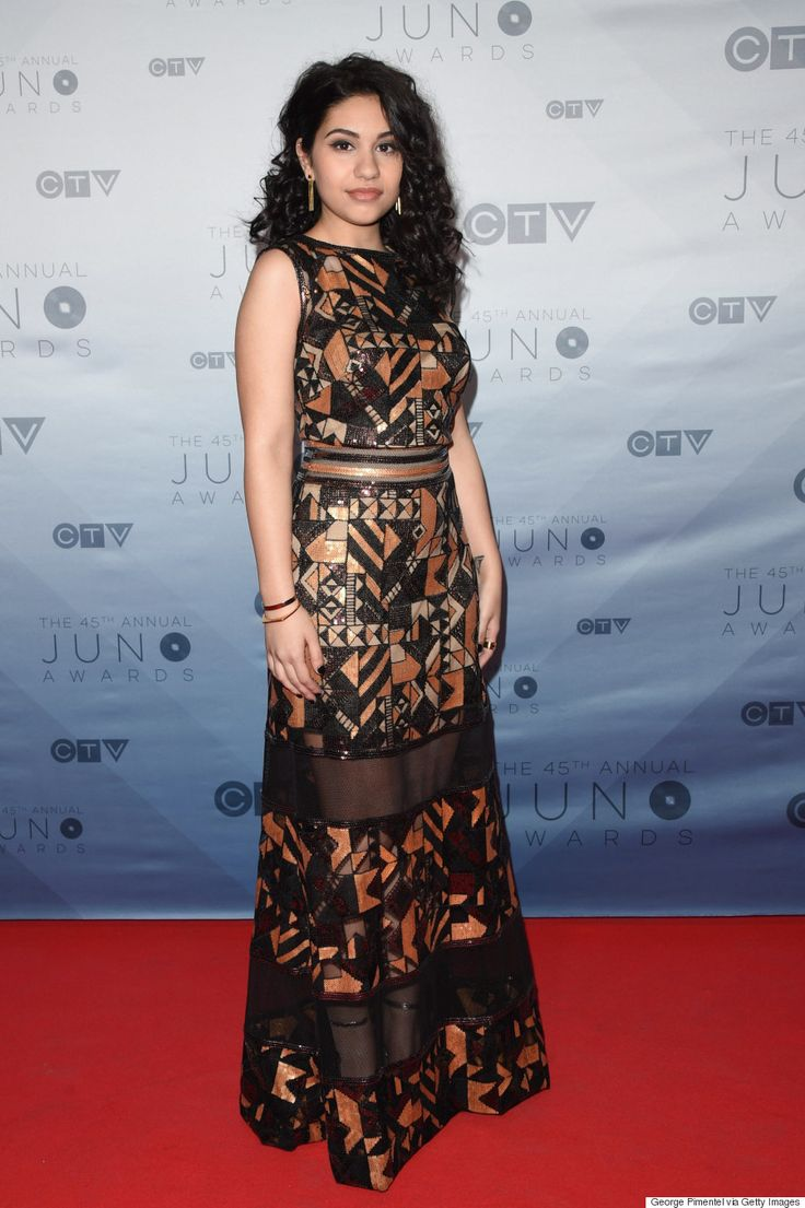 Alessia Cara, 2016 Junos, in a floor-length Tadashi Shoji sequinned gown with mesh inserts.