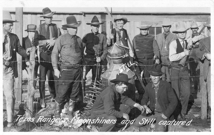 Captured Moonshiners-The Texas Rangers were responsible for enforcing the laws of Prohibition (1920-1933) and captured thousands of moonshiners.