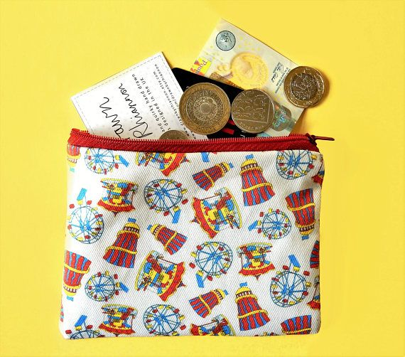 Bright fairground coin purse  colourful zip pouch  quirky