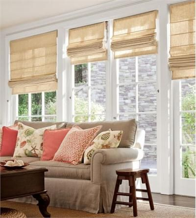 14 best images about french door treatments on pinterest for Fabric window blinds designs