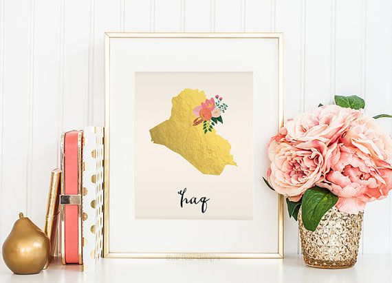 Iraq Map Iraq Art Iraq Poster Iraq Print by WhitespaceAndDaisy