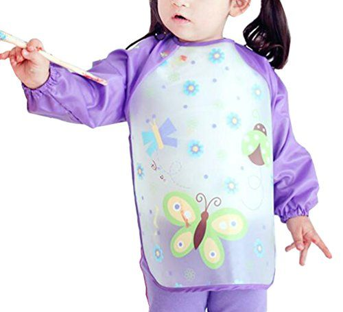 From 2.96 Waterproof Baby Girls Apron Bibs Cartoon Animal Kids Eat Play Painting Apron (purple)