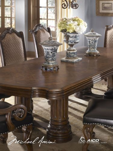 9 Pc Monte Carlo II Rectangular Table Dining Room Set Cafe Noir AICO
