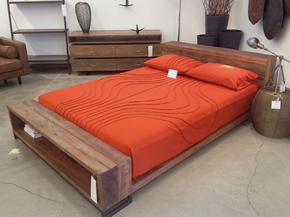 Bedroom. brown wooden queen bed frame with shelf storage on the front side combined with orange bedding set placed on the gray floor. Terrific Diy Queen Bed Frame With Storage Bring Captivating Look