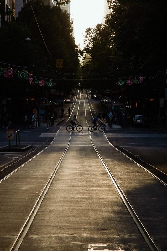 Tram tracks Collins St. Melbourne Victoria Australia (City)